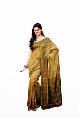 Golden and Dark Golden Raw Silk Saree