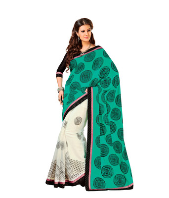 Green And  Black Cotton Silk Saree