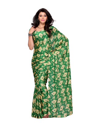 Green Color Crepe FestivalParty Wear Designer Saree
