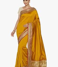 Buy yellow plain silk saree with blouse silk-saree online
