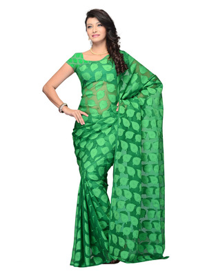 Green Color Jacquard Casual Wear Fancy Saree