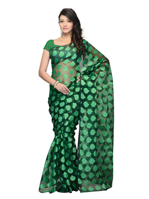Green Color Jacquard PartyFestival Wear Saree