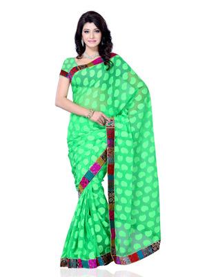 Green Color Jacquard PartyFestival Wear Saree
