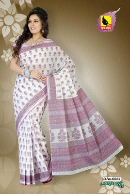 Light Pink and Off White Color Cotton Saree
