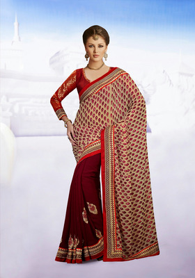 Luscious Cream And  Maroon Embroidered Saree