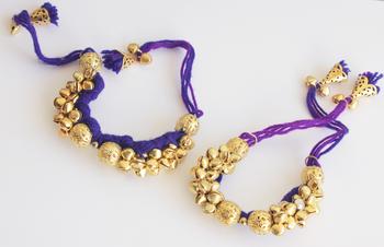 Ghungroo Latkan Punchi Bracelet - Purple