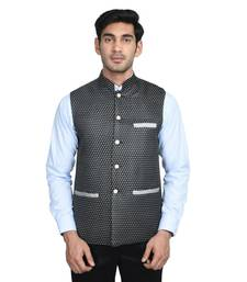 Buy Black dot poly cotton round neck men jacket jacket gifts-for-brother online