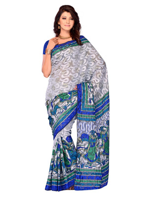 Multi Color Brasso PartyFestival Wear Saree