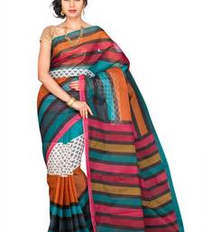 Buy Multicolor printed polycotton saree with blouse below-500 online