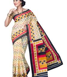 Buy Black printed polycotton saree with blouse below-500 online