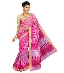 Buy Pink printed blended cotton saree with blouse cotton-saree online