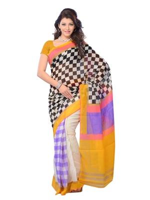 Multi Color Cotton Party Wear Fabcy Saree