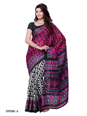 Pink And Black Color Art Silk Party Wear Fancy Saree