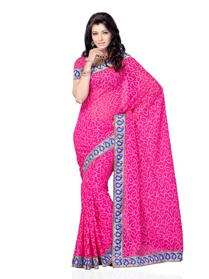 Pink Color Crepe CasualOffice Wear Fancy Saree