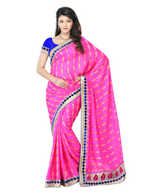 Pink Color Crepe Jacquard Bollywood Party Wear Designer Saree