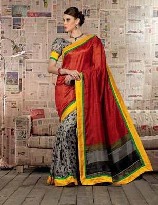 Gorgeous Bhagalpuri Art Silk Printed Saree With Border Work and Blouse Piece