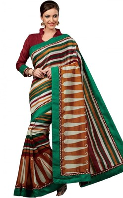 Gorgeous Bhagalpuri Art Silk Printed Saree With Border Work and Blouse Piece