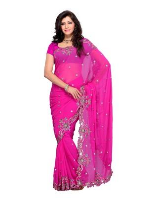 Pink Color Georgette FestivalParty Wear Designer Saree