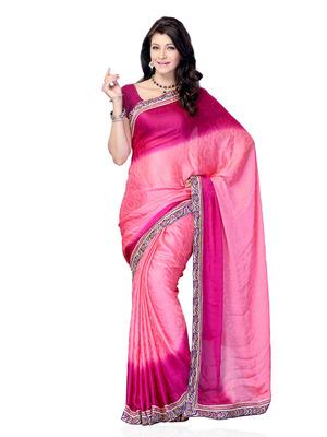 Pink Color Smokked Georgette Party Wear Fancy Designer Saree