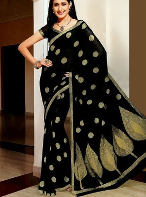Pretty Banarasi Embellished Chiffon Saree With Blouse Piece for Wedding Party Festivals