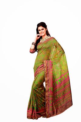 Pista Green and Multicolor Raw Silk Saree