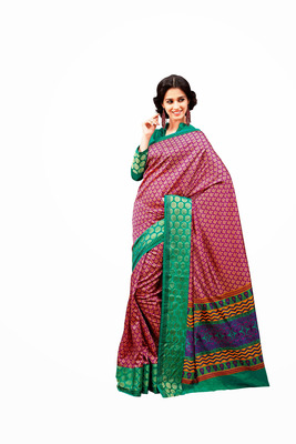Purple and Green Raw Silk Saree