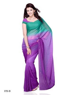 Purple Color Georgette FestivalParty Wear Designer Saree