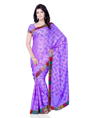 Purple Color Jacquard PartyFestival Wear Saree