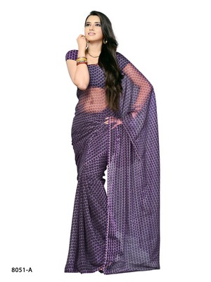 Purple Color Synthetic Raw Silk CasualParty Wear Saree
