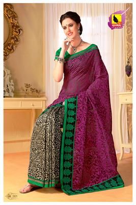 Rani Pink Partywear Designer Saree