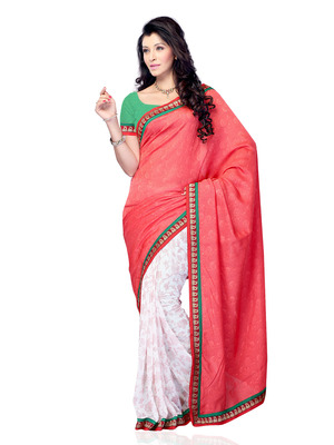 Red And White Color Jacquard And Georgette Party Wear Designer Saree