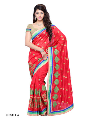 Red Color Art Silk Bollywood Party Wear Designer Saree