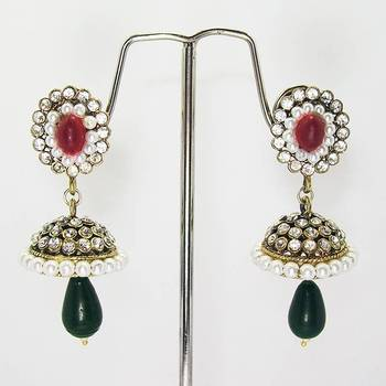 Victorian Small Tokri with Drop Red Green