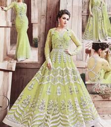 Buy Light parrot green multi resham work faux woolen blends salwar with dupatta salwar-kameez online