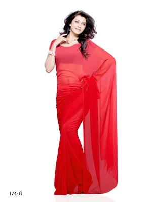 Red Color Georgette FestivalParty Wear Designer Saree