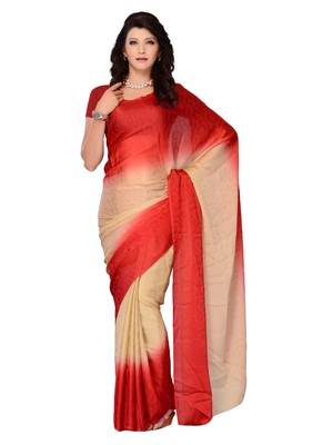 Red Color Georgette PartyFestival Wear Saree