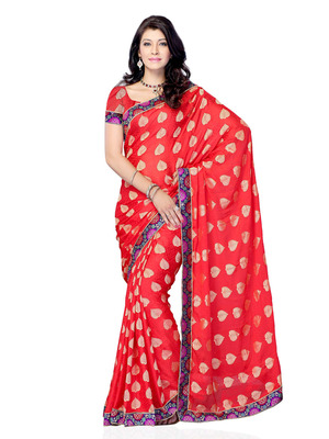 Red Color Jacquard CasualOffice Wear Fancy Saree