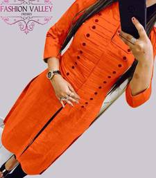 Buy Orange plain stitched cotton-kurtis cotton-kurti online