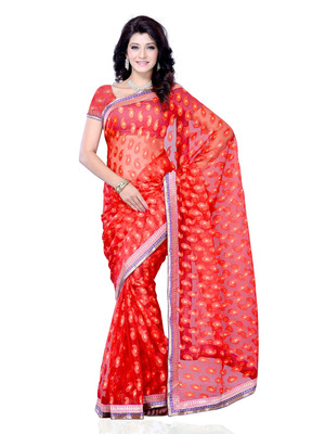 Red Color Jacquard PartyFestival Wear Saree