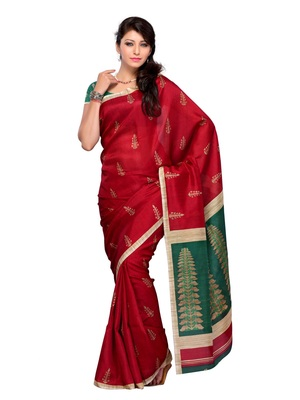 Red Color Synthetic Raw Silk FestivalParty Wear Designer Saree