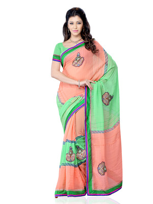 Rust And Green Color Georgette Bollywood Party Wear Designer Saree