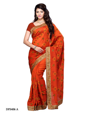 Rust Color Art Silk Bollywood Party Wear Designer Saree