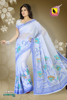 Sea Blue Color Cotton Saree