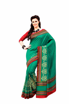 Sea Green and Multicolor Raw Silk Saree