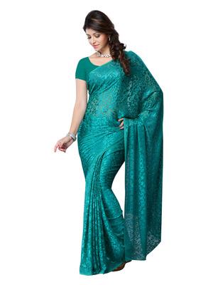 Sea Green Color Brasso Party Wear Fancy Saree