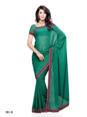 Sea Green Color Georgette FestivalParty Wear Designer Saree