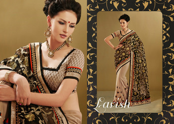 Splendorous Beige And  Black Embroidered Saree
