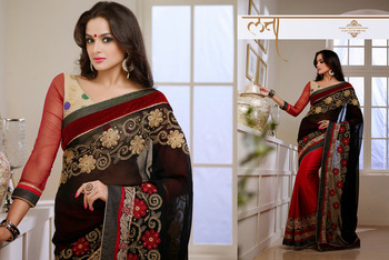 Tantalizing Black And  Red Embroidered Saree