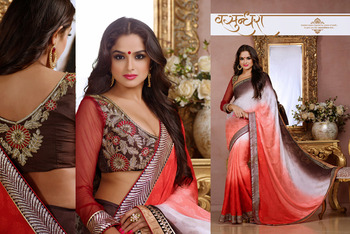 Tantalizing Choclate, Red, White And  Pale Red Embroidered Saree