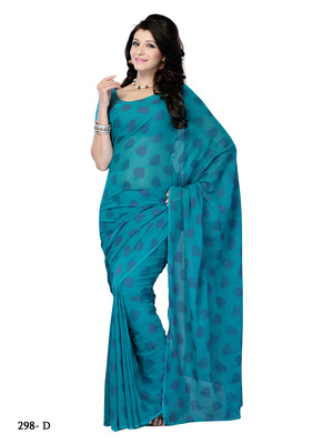 Turquoise Blue Color Jacquard Party Wear Fancy Designer Saree